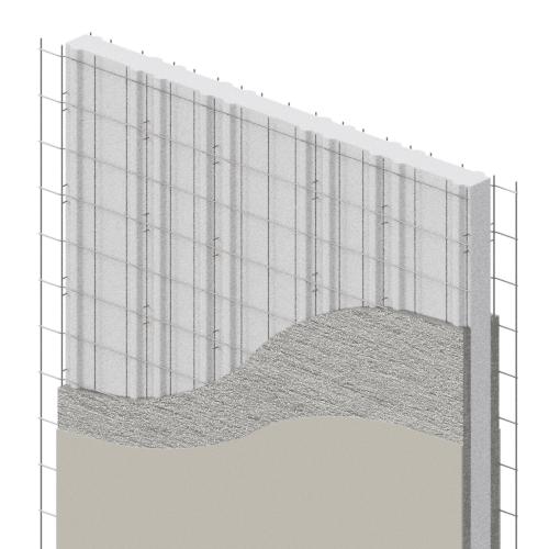 panel divisorio recubierto con mortero